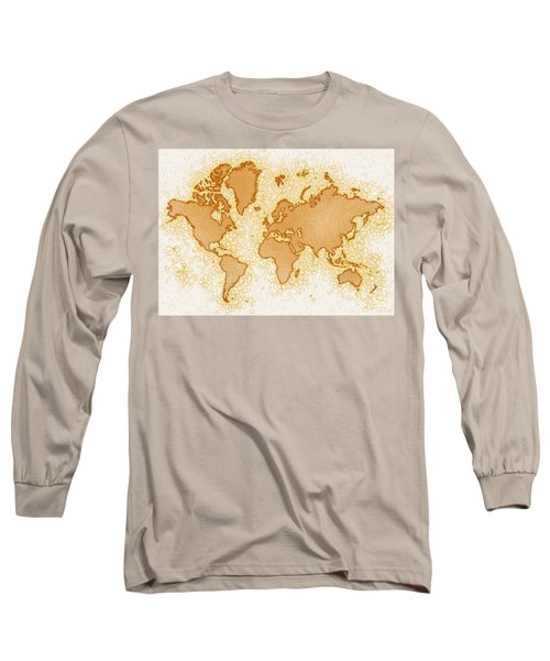 World Map Airy In Brown And White Long Sleeve T-Shirt