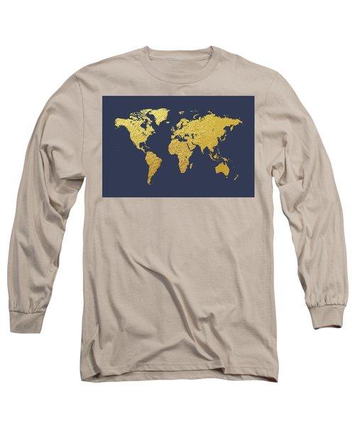 World Map Gold Foil Long Sleeve T-Shirt