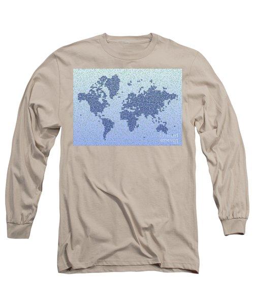 World Map Kotak In Blue Long Sleeve T-Shirt