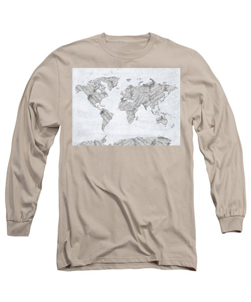 Long Sleeve T-Shirt featuring the digital art World Map Music 10 by Bekim Art