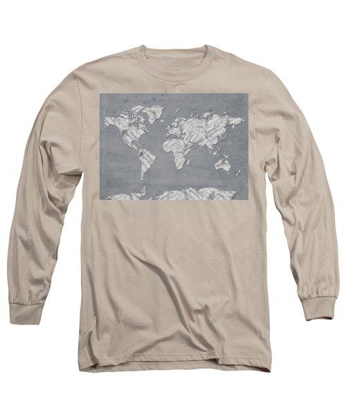 Long Sleeve T-Shirt featuring the digital art World Map Music 11 by Bekim Art