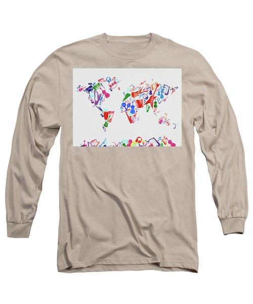 Long Sleeve T-Shirt featuring the digital art World Map Music 3 by Bekim Art