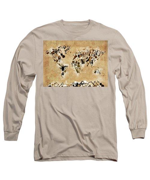 Long Sleeve T-Shirt featuring the digital art World Map Music 4 by Bekim Art