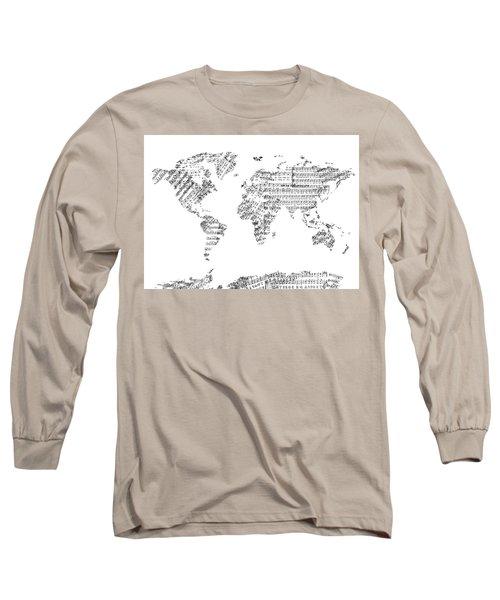 Long Sleeve T-Shirt featuring the digital art World Map Music 8 by Bekim Art