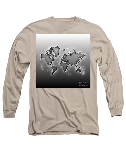 World Map Opala In Black And White Long Sleeve T-Shirt by Eleven Corners