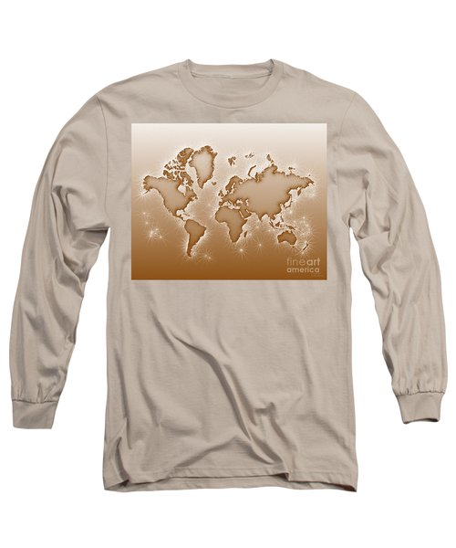 World Map Opala In Brown And White Long Sleeve T-Shirt by Eleven Corners