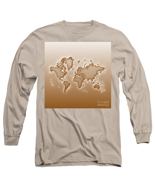 World Map Opala Square In Brown And White Long Sleeve T-Shirt