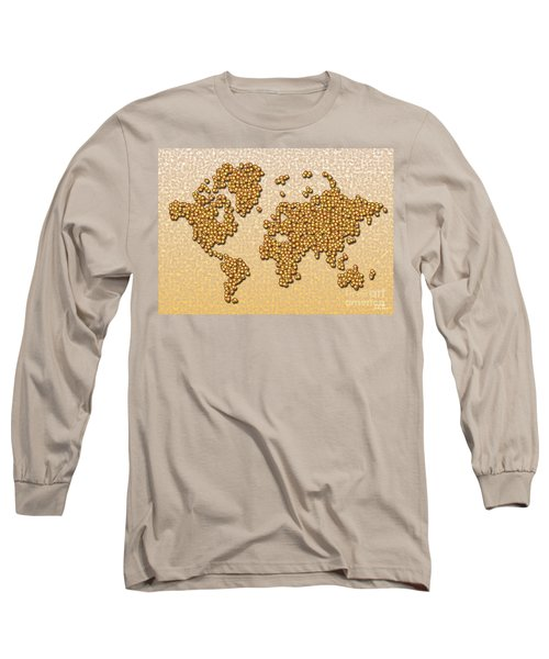 World Map Rolamento In Yellow And Brown Long Sleeve T-Shirt