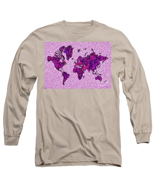 World Map Takkede In Purple Long Sleeve T-Shirt