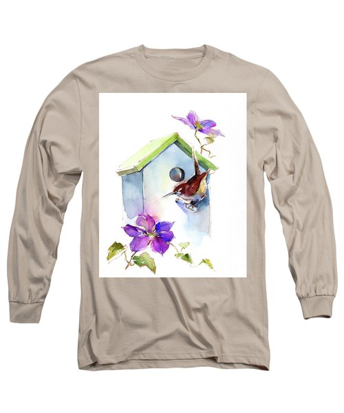 Wren With Birdhouse And Clematis Long Sleeve T-Shirt