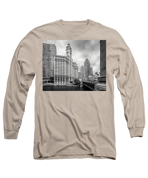 Long Sleeve T-Shirt featuring the photograph Wrigley Building Chicago by Adam Romanowicz