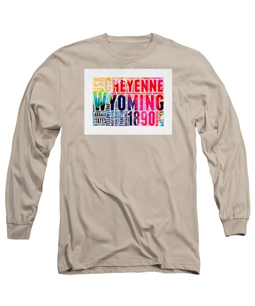 Wyoming Watercolor Word Cloud Map Long Sleeve T-Shirt