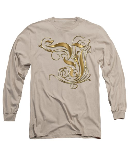 Y Ornamental Letter Gold Typography Long Sleeve T-Shirt by Georgeta Blanaru