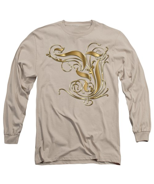 Y Ornamental Letter Gold Typography Long Sleeve T-Shirt