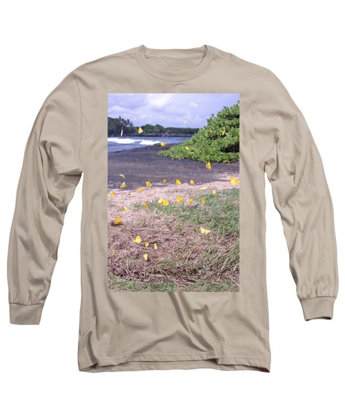 Yellow Butterflies At The Beach Long Sleeve T-Shirt
