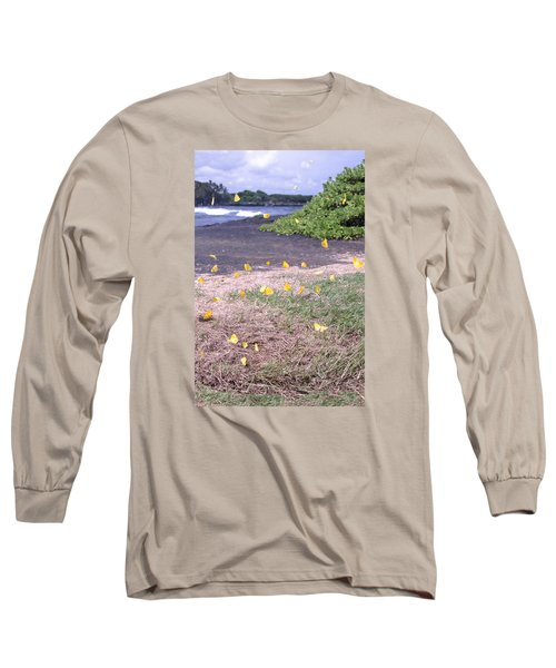 Yellow Butterflies At The Beach Long Sleeve T-Shirt