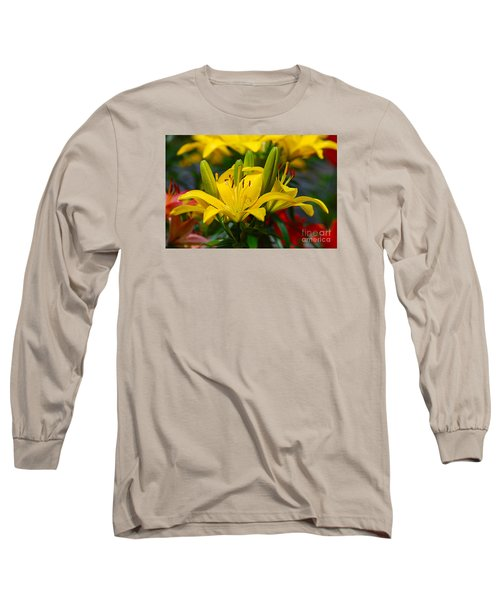 Long Sleeve T-Shirt featuring the photograph Yellow Day Lily 20120614_55a by Tina Hopkins