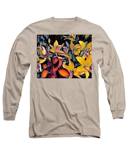 Yellow Daylilies Long Sleeve T-Shirt by Kathie Chicoine