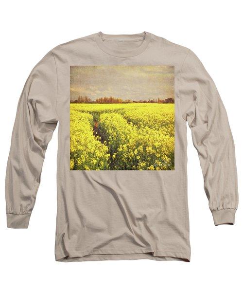 Yellow Field Long Sleeve T-Shirt by Lyn Randle