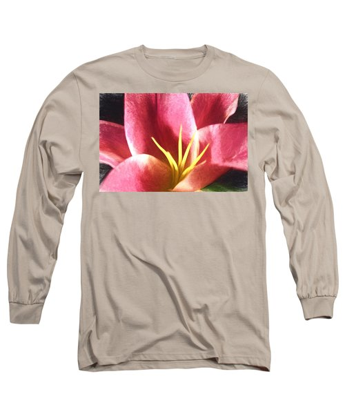 Yellow Fingers, Pink Blush Long Sleeve T-Shirt by Terry Cork