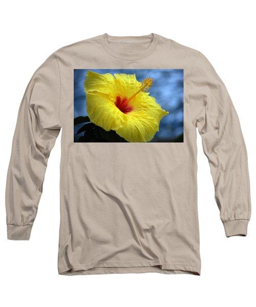 Long Sleeve T-Shirt featuring the photograph Yellow Hibiscus by Debbie Karnes