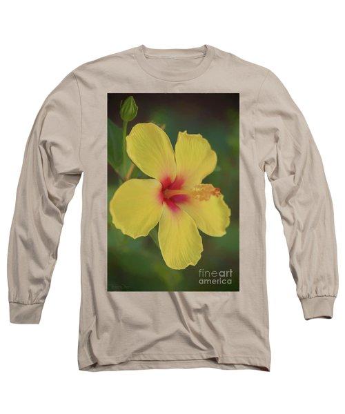 Yellow Hibiscus Profile Long Sleeve T-Shirt