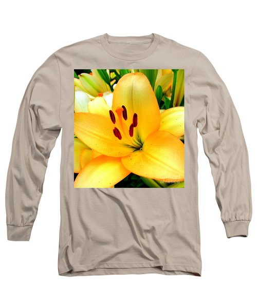 Long Sleeve T-Shirt featuring the photograph Yellow Lilies 1 by Randall Weidner