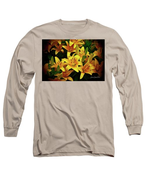 Long Sleeve T-Shirt featuring the photograph Yellow Lilies by Joann Copeland-Paul