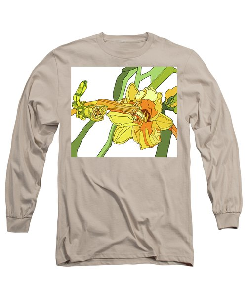 Yellow Lily And Bud, Graphic Long Sleeve T-Shirt by Jamie Downs