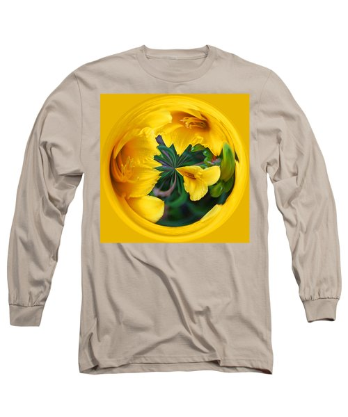 Yellow Lily Orb Long Sleeve T-Shirt by Bill Barber