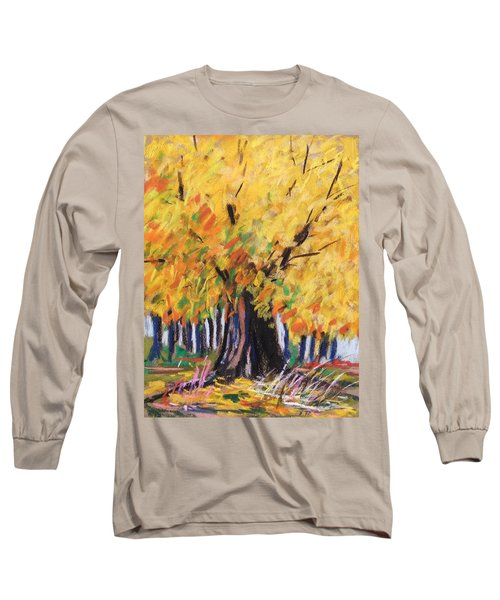 Yellow Maple Wet Trunk Long Sleeve T-Shirt by John Williams