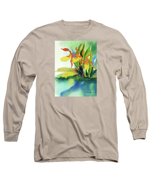 Long Sleeve T-Shirt featuring the painting Yellow Moccasin Flowers by Kathy Braud
