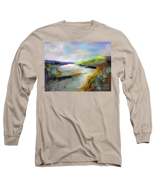 Long Sleeve T-Shirt featuring the painting Yellow Mountain by Frances Marino