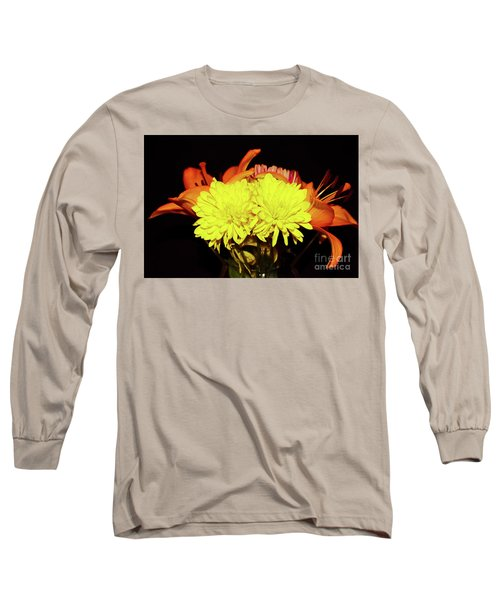 Yellow Mums And Orange Lilies  Long Sleeve T-Shirt