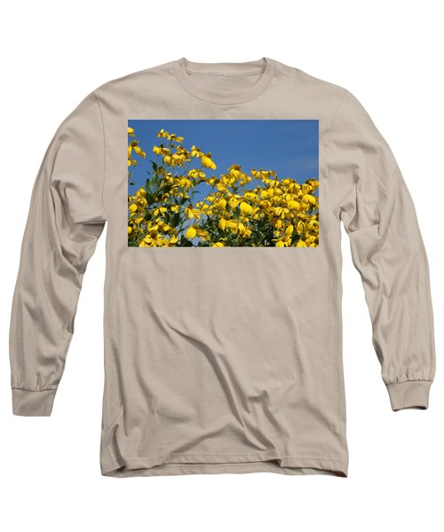 Yellow On Blue Long Sleeve T-Shirt by Lois Lepisto