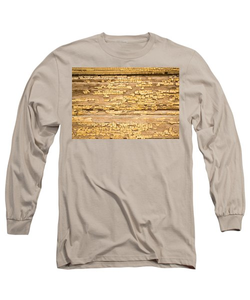 Long Sleeve T-Shirt featuring the photograph Yellow Painted Aged Wood by John Williams
