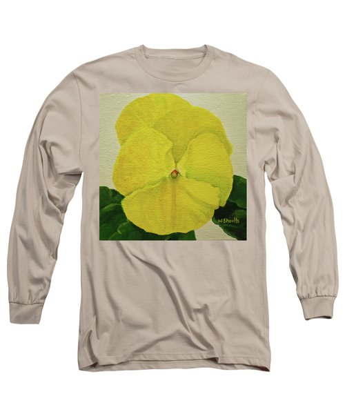 Yellow Pansy Long Sleeve T-Shirt by Wendy Shoults