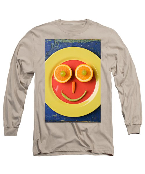 Yellow Plate With Food Face Long Sleeve T-Shirt by Garry Gay