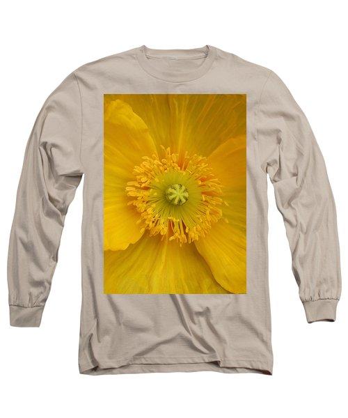 Yellow Poppy Flower Center Long Sleeve T-Shirt