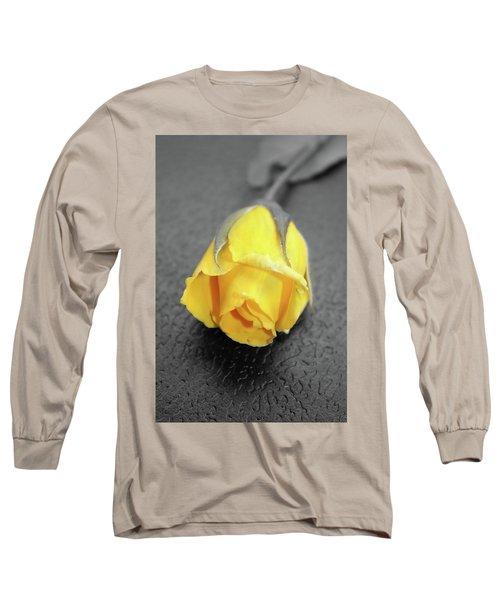 Yellow Rose Long Sleeve T-Shirt by Angel Jesus De la Fuente