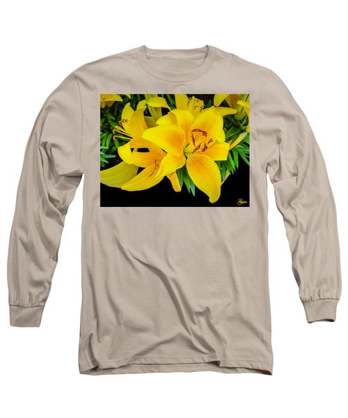 Yellow Tiger Lily In The Spring Long Sleeve T-Shirt