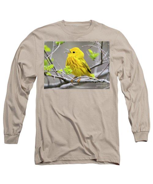Yellow Warbler  Long Sleeve T-Shirt by Ricky L Jones