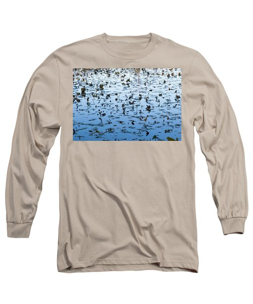 Yellow Water Lilies In Deep Silhouette Long Sleeve T-Shirt