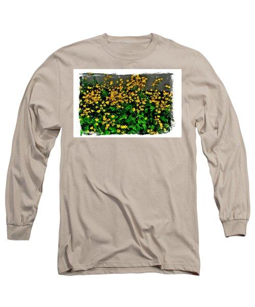 Yellow Wildflowers Long Sleeve T-Shirt by Marsha Heiken