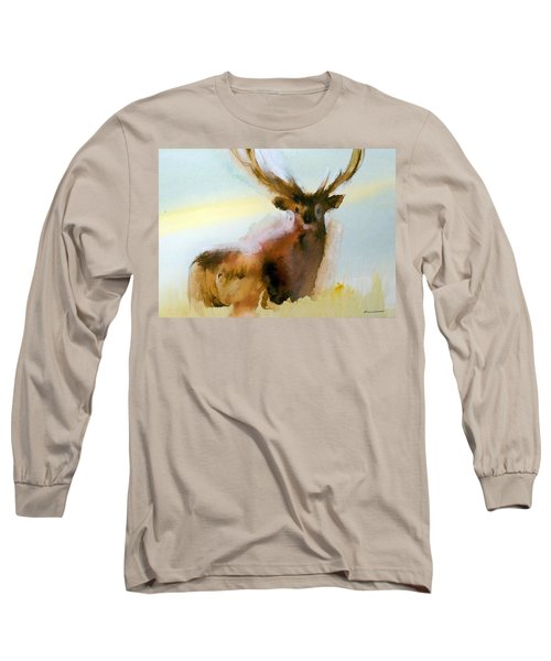Long Sleeve T-Shirt featuring the painting Yellowstone  Elk by Ed Heaton