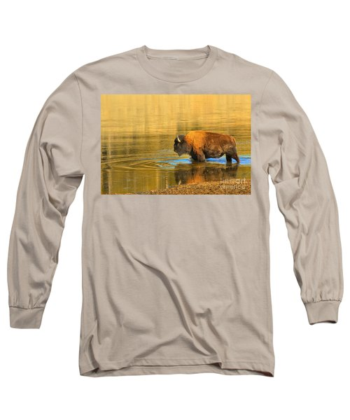 Long Sleeve T-Shirt featuring the photograph Yellowstone Solo Swimmer by Adam Jewell