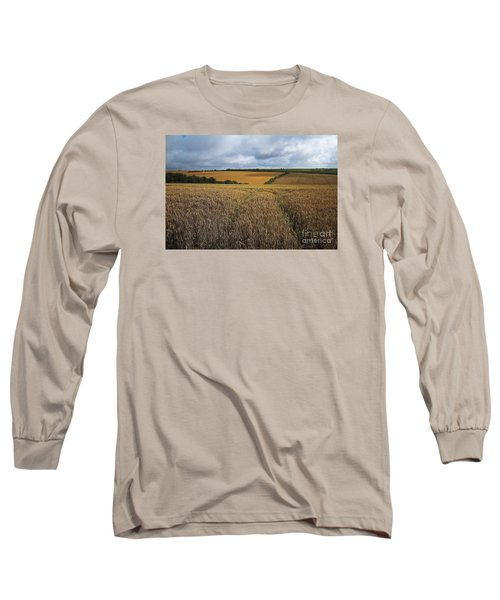 Long Sleeve T-Shirt featuring the photograph Yelow Fields And Fluffy Clouds  by Gary Bridger