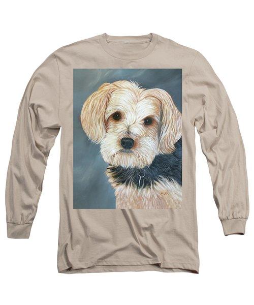 Long Sleeve T-Shirt featuring the painting Yorkie Portrait by Karen Zuk Rosenblatt