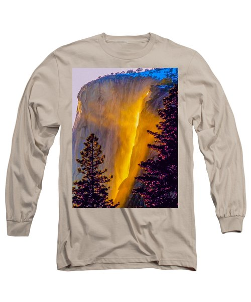 Yosemite Firefall Painting Long Sleeve T-Shirt