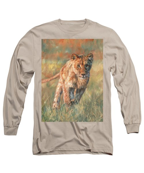 Long Sleeve T-Shirt featuring the painting Youn Lion by David Stribbling